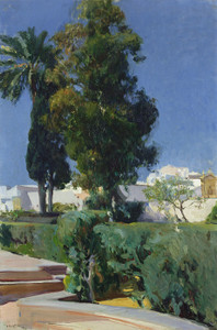 Art Prints of Corner of the Garden, Alcazar, Sevilla by Joaquin Sorolla y Bastida