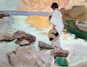 Art Prints of Elena at Cala de San Vicente by Joaquin Sorolla y Bastida