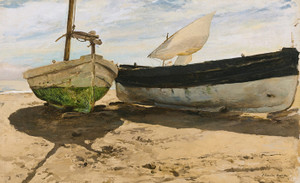 Art Prints of Fishing Boats on the Beach, Valencia by Joaquin Sorolla y Bastida