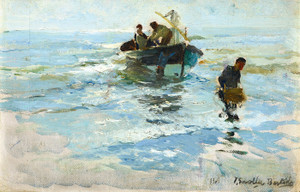 Art Prints of The Return of the Boat, Valencia Beach by Joaquin Sorolla y Bastida