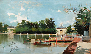 Art Prints of Jetty in the Retiro Gardens, Madrid by Joaquin Sorolla y Bastida