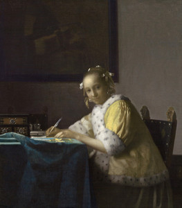 Art Prints of A Lady Writing by Johannes Vermeer