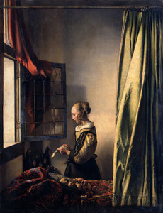Art Prints of Girl Reading a Letter by an Open Window by Johannes Vermeer