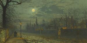 Art Prints of A Moonlit Walk by John Atkinson Grimshaw