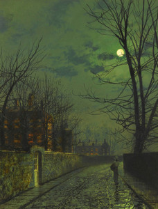 Art Prints of A Moonlit Street After Rain by John Atkinson Grimshaw
