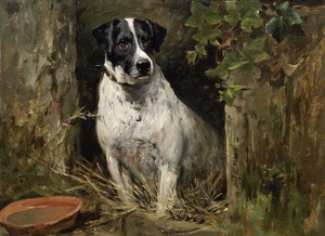 Art Prints of A Terrier by a Kennel by John Emms