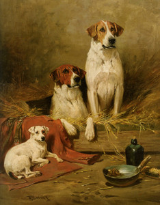 Art Prints of Foxhounds and a Terrier by John Emms