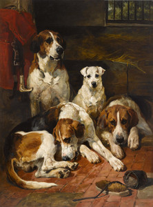 Art Prints of Hounds and a Terrier in a Kennel by John Emms