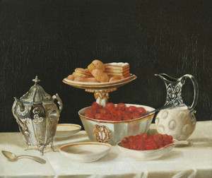 Art Prints of Still Life of Strawberries and Cream by John F. Francis