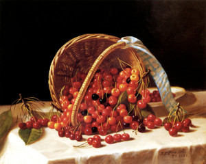 Art Prints of Basket of Cherries by John F. Francis