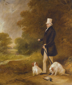Art Prints of Sir William Mordaunt Milner with Clumber Spaniels by John Ferneley