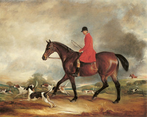 Captain Garth on His Bay Hunter with Hounds by John Ferneley | Fine Art Print