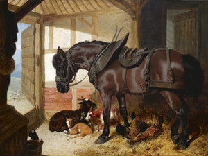 A Bay Carthorse with Goats and Chickens by John Frederick Herring | Fine Art Print