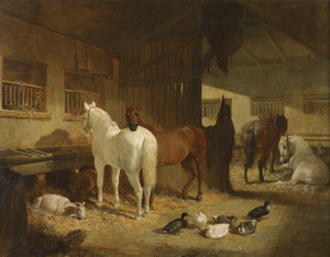 Art Prints of Four Horses in a Barn by John Frederick Herring
