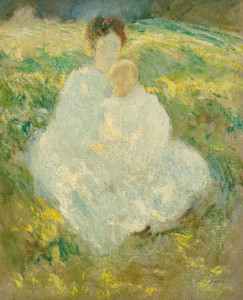 Art Prints of Portrait of Mrs. Twachtman and her Son Godfrey by John Henry Twachtman