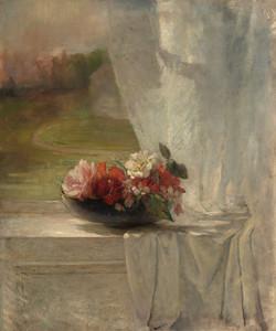 Art Prints of Flowers on a Window Ledge by John La Farge