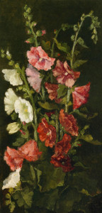 Art Prints of Hollyhocks by John La Farge