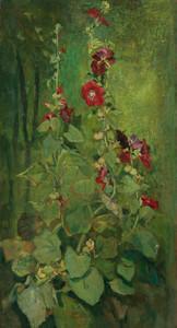 Art Prints of Red Hollyhocks by John La Farge