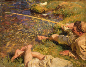 Art Prints of A Man Fishing by John Singer Sargent