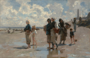 Art Prints of Fishing for Oysters at Cancale by John Singer Sargent