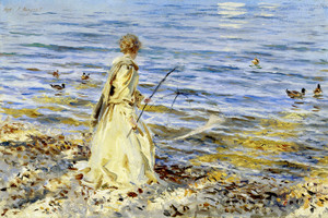 Art Prints of Girl Fishing at San Vigilio by John Singer Sargent