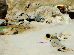 Art Prints of Two Boys on a Beach with Boats by John Singer Sargent