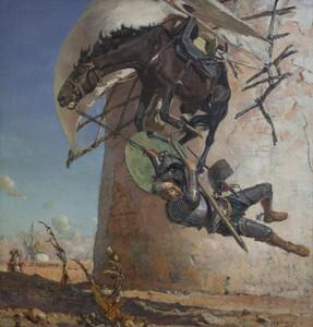 Art Prints of Don Quixote and the Windmills by Jose Moreno Carbonero