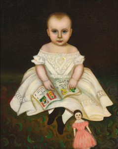 Art Prints of Portrait of a Young Girl with Doll by Joseph Whiting Stock