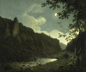 Art Prints of Dovedale by Moonlight by Joseph Wright of Derby