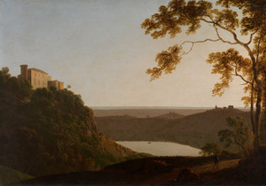 Art Prints of Lake Nemi Sunset by Joseph Wright of Derby