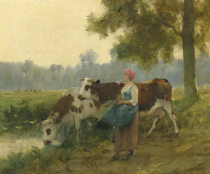 Art Prints of Young Maid with Her Herd at the Waters Edge by Julien Dupre