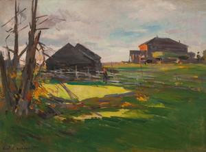 Art Prints of farmstead Ostrovno by Konstantin Alexeevich Korovin