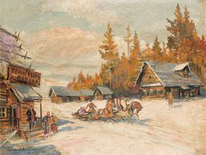 Art Prints of Winter Sleigh Ride by Konstantin Alexeevich Korovin