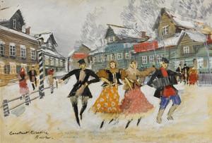 Art Prints of The Village Dancers by Konstantin Alexeevich Korovin