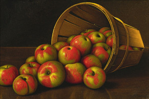 Art Prints of Still Life with Overturned Basket of Apples by Levi Wells Prentice