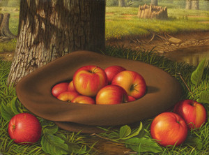 Art Prints of Still Life with Apples in a Hat by Levi Wells Prentice
