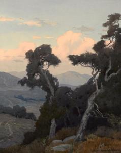Art Prints of Landscape with Oak Trees by Marion Kavanaugh Wachtel