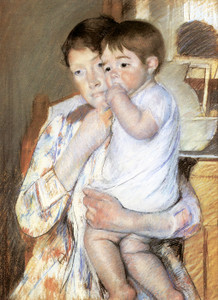 Art Prints of Baby in His Mother's Arms by Mary Cassatt