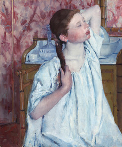 Art Prints of Girl Arranging Her Hair by Mary Cassatt