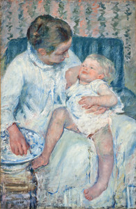 Art Prints of Mother About to Wash Her Sleepy Child, 1880 by Mary Cassatt