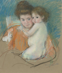 Art Prints of Mother and Dark Eyed Child by Mary Cassatt