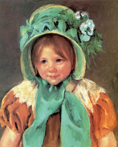 Art Prints of Sara in a Green Bonnet by Mary Cassatt