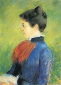 Art Prints of Profile of a Woman Wearing a Red Jabot by Mary Cassatt