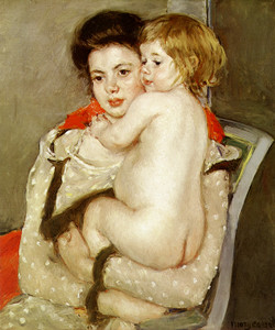 Art Prints of Reine Lefebvre Holding a Nude Baby by Mary Cassatt
