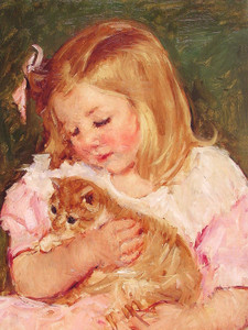 Art Prints of Sara Holding a Cat by Mary Cassatt