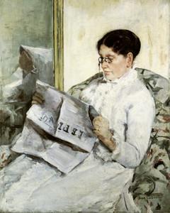 Art Prints of Reading Le Figaro by Mary Cassatt
