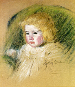 Art Prints of Simone in a Round Backed, Upholstered Chair by Mary Cassatt