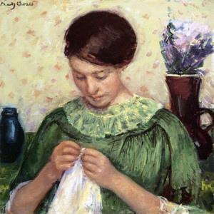 Art Prints of Woman Sewing by Mary Cassatt