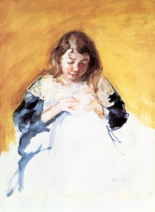 Art Prints of Young Girl in Blue, Francoise Sewing by Mary Cassatt
