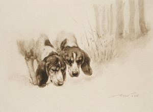 Art Prints of Puzzling it Out, the Thorpe Satchville Beagles by Maud Earl